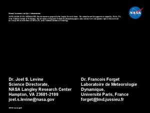 National Aeronautics and Space Administration NOTE ADDED BY