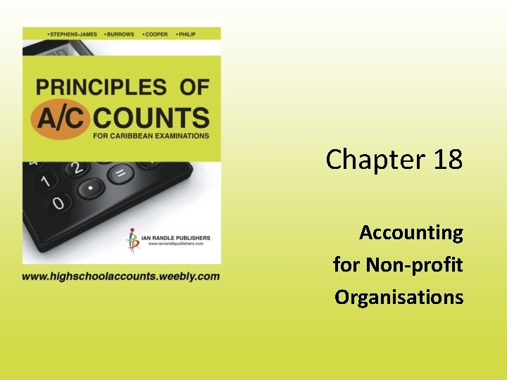Chapter 18 Accounting for Nonprofit Organisations NonProfit Organisations