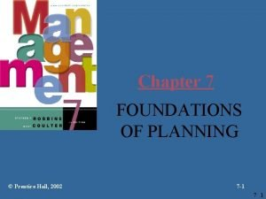 Chapter 7 FOUNDATIONS OF PLANNING Prentice Hall 2002