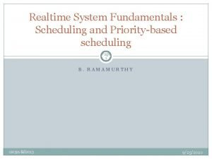 Realtime System Fundamentals Scheduling and Prioritybased scheduling Page