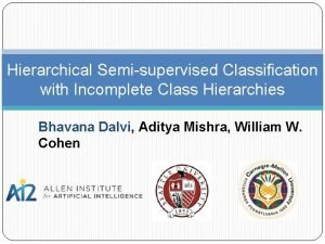 Hierarchical Semisupervised Classification with Incomplete Class Hierarchies Bhavana