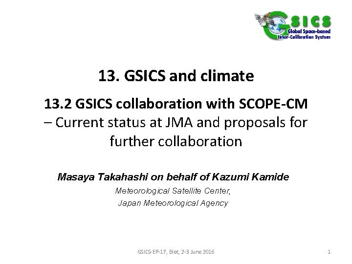 13 GSICS and climate 13 2 GSICS collaboration