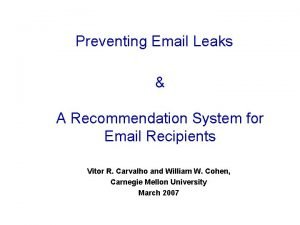 Preventing Email Leaks A Recommendation System for Email