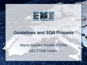 EMI INFSORI261611 Guidelines and SQA Process Maria Alandes
