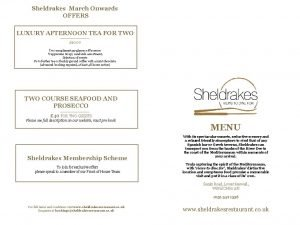 Sheldrakes March Onwards OFFERS LUXURY AFTERNOON TEA FOR