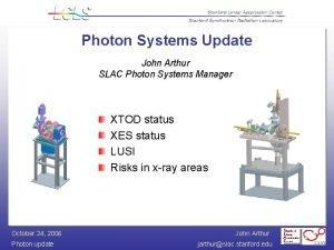 Photon Systems Update John Arthur SLAC Photon Systems