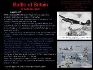 Battle of Britain air battle for Britain Angel