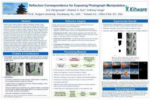 Reflection Correspondence for Exposing Photograph Manipulation Eric Wengrowski