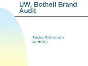 UW Bothell Brand Audit Sandeep Krishnamurthy March 2001
