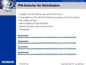 Process Instrumentation and Analytics PIASelector for Distributors AD