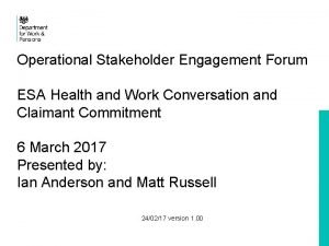 Operational Stakeholder Engagement Forum ESA Health and Work