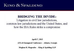 BRIDGING THE DIVIDE Litigation in civil law jurisdictions
