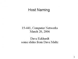 Host Naming 15 441 Computer Networks March 20