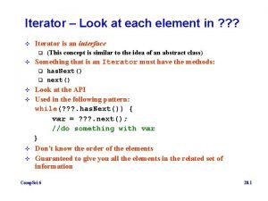 Iterator Look at each element in v Iterator
