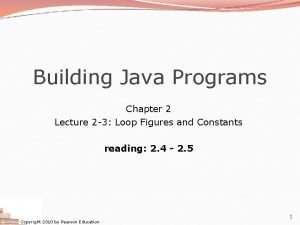 Building Java Programs Chapter 2 Lecture 2 3