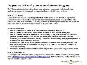 Valparaiso University Law Alumni Mentor Program The Valparaiso