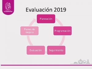 Evaluacin 2019 Planeacin Planes de mejora Evaluacin Programacin