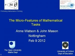 Promoting Mathematical Thinking The MicroFeatures of Mathematical Tasks