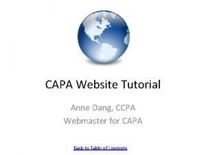 CAPA Website Tutorial Anne Dang CCPA Webmaster for