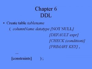 Chapter 6 DDL Create tablename column Name datatype