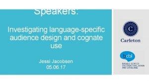Talking to Nonnative Speakers Jessi Jacobsen Investigating languagespecific