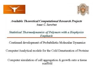Available TheoreticalComputational Research Projects Isaac C Sanchez Statistical