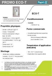 PROMO ECOT Utilisation Adhsif thermofusible type EVA dvelopp