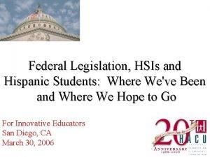 Federal Legislation HSIs and Hispanic Students Where Weve