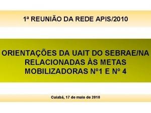 1 REUNIO DA REDE APIS2010 ORIENTAES DA UAIT