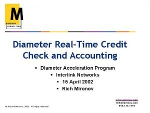 Diameter RealTime Credit Check and Accounting Diameter Acceleration