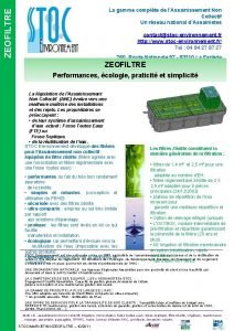 ZEOFILTRE La gamme complte de lAssainissement Non Collectif