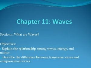 Chapter 11 Waves Section 1 What are Waves