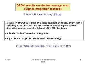 DRSII results on electron energy scan Signal integration