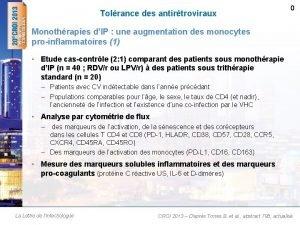 Tolrance des antirtroviraux 0 Monothrapies dIP une augmentation