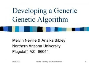 Developing a Generic Genetic Algorithm Melvin Neville Anaika