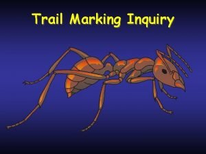 Trail Marking Inquiry Trail marking inquiry Hypothesis 1