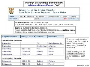 TANAP A treasure trove of information databases tanap