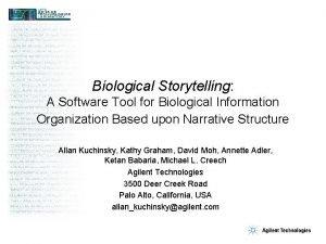 Biological Storytelling A Software Tool for Biological Information