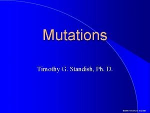 Mutations Timothy G Standish Ph D 2000 Timothy