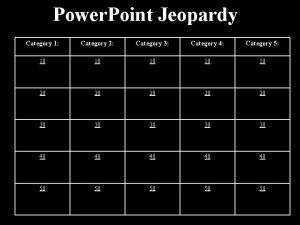 Power Point Jeopardy Category 1 Category 2 Category