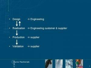 Design Engineering Realisation Engineering customer supplier Production supplier
