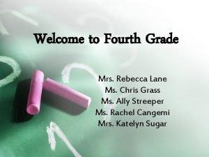 Welcome to Fourth Grade Mrs Rebecca Lane Ms