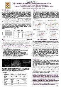 Appendix Three The Effect of Gestational Diabetes Mellitus