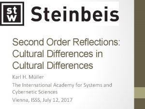 Second Order Reflections Cultural Differences in Cultural Differences