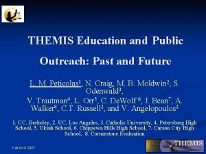 THEMIS Education and Public Outreach Past and Future