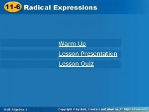 11 6 Radical 11 6 Radical Expressions Warm