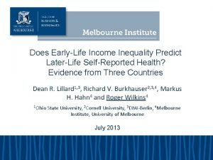 Does EarlyLife Income Inequality Predict LaterLife SelfReported Health