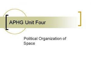 APHG Unit Four Political Organization of Space Political