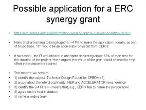 Possible application for a ERC synergy grant https