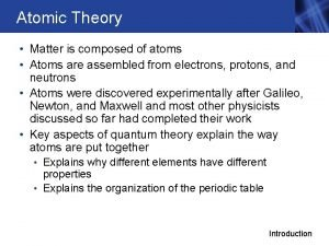 Atomic Theory Matter is composed of atoms Atoms